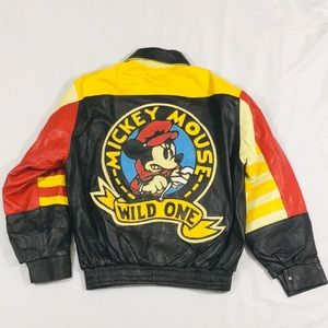 Vintage 1980's Mickey Mouse Leather Jacket